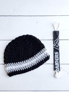 NFL Raiders Set Baby Beanie and Paci Clip Fits by ChucksForChancho