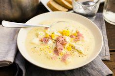 Koken met Aanbiedingen: verse aspergesoep met ham en eieren