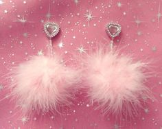 Be my Valentine-  Faux Feather pink feather pom-pom earrings with iridescent pearl trim and plastic pink and silver stud