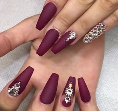 Burgundy sparkle nails