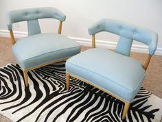Aqua slipper chairs by Tomlinson