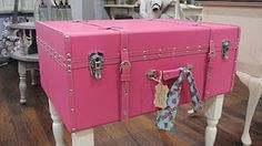 Beau Hot Pink Sassy Trunk Table/Storage. Perfect For Those American Girl Clothes!