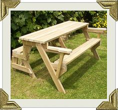A more involved one of these where the bench is deeper and has armrests, and it converts to a full picnic bench. The plans are $5 || folding picnic table to bench seat