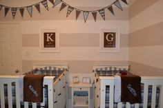 pretty blues and browns with white. Love the pennant banner and letter above for names.