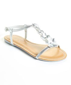 Loving this Silver Daisy T-Strap Sandal on #zulily! #zulilyfinds
