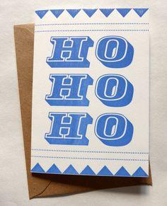 Letterpress Typographic Christmas Card - Ho Ho Ho