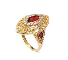 A lovely band with garnets and diamonds for vintage appeal.
