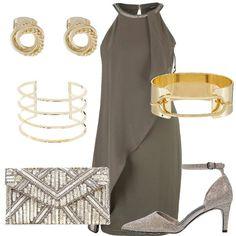 Dedicato ad una donna che adora gli accessori questo outfit. L'abito è composto da un abito accollato e da un pannello leggero che crea movimento. Abbiniamo delle scarpe glitterate color oro, la pochette color oro, con applicazioni di paillettes, bracciali color oro e orecchini a lobo. E' consigliato abbinare una stola della stessa tinta dell'abito, color oro o bronzo.