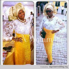 Nigerian Wedding wedding guests velvet asoebi styles yellow and white bride