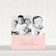 Baby Girl | Birth Announcement | Tiny Prints | Coved Corners: Tea Rose - Girl Photo Birth Announcements in Tea Rose - Petite Alma