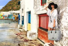 While a Greek island is a stunning colourful backdrop, the simplicity of this black and white styling is fresh, clean and sophisticated Spring Summer 2015, Free Spirit, Straw Bag, Black And White, Campaign, Color, Greek, Island, Live