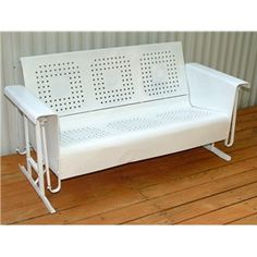 Metal Patio Glider - Vintage Outdoor Porch Furniture....My mom own's one just like this......I so want to get it and fix it up.....brings back memories of my Granny's house.