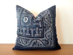 "18""x18"" Vintage Indigo Batik Pillows, Old Chinese HMONG Batik Fabric Pillow Case, Ethnic Costume Textile Cushion Cover"