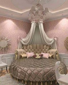 This is a Bedroom Interior Design Ideas. House is a private bedroom and is usually hidden from our guests. However, it is important to her, not only for comfort but also style. Much of our bedroom … Dream Rooms, Dream Bedroom, Master Bedroom, Fancy Bedroom, Pink Bedrooms, Girls Bedroom, Princess Bedrooms, Princess Beds, Princess House