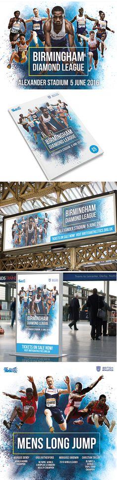 Poster and event guide for the British Athletics outdoor season. Promoting the Birmingham Diamond League 2016 in Birmingham, Alexander Stadium. Diamond League, Event Guide, Long Jump, Athletics, Case Study, Birmingham, British, Social Media, Creative