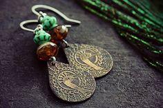 Peacock Earrings Bird Jewelry Copper Etched by TheCreakingDoor