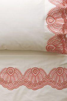 Eyelet Embroidered Sheet Set, Coral