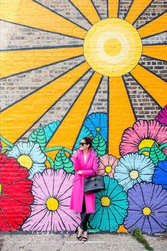 Topshop Long Neon Pink Coat Chicago Flower Sun Mural Neighborhood Fine art can be Graffiti Art, Murals Street Art, Flower Graffiti, Graffiti Images, Street Wall Art, Mural Floral, Flower Mural, Mural Wall Art, Mural Painting