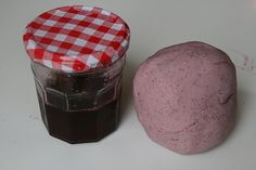 Blueberry sparkle play dough recipe- made and coloured with natural blueberry juice!