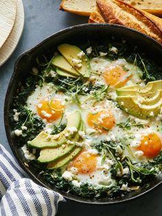 Egg Recipes, Brunch Recipes, Breakfast Recipes, Breakfast Spinach, Breakfast Ideas, Bacon Breakfast, Tzatziki Vegan, Spoon Fork Bacon, Vegetarian Recipes