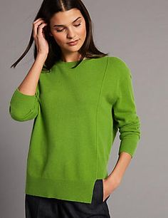 Buy the Pure Cashmere Step Hem Round Neck Jumper from Marks and Spencer's range. Cashmere Fabric, Cashmere Jumper, Knitwear, Tunic Tops, Price Point, Pure Products, Elegant, Stylish, Sweaters