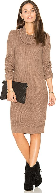 On SALE! Bobi Cashmere Cowl Neck Sweater Dress in Brown