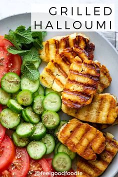 Grilled halloumi is a simple and delicious Mediterranean appetizer that's ready in minutes. Cook on an indoor or outdoor grill and serve with a fresh salad. | Middle Eastern Food | Lebanese Recipes | Grilled Recipes | Cheese Recipes | Appetizers