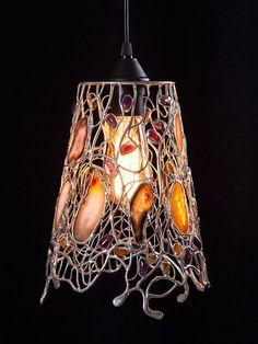 LAMPA WISZĄCA ''AŻUR BURSZTYNU'' w Ni'Finn Handmade na DaWanda.com