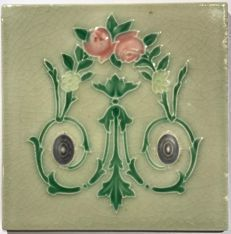 Art Nouveau tile with floral decorations
