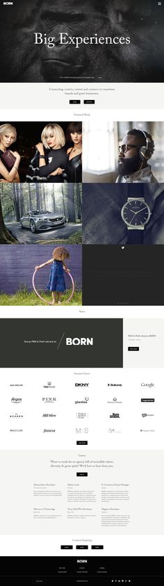 http://www.borngroup.com/  This is amazing. I've seen alot of agencies using the full screen feature image with just a tagline or logo. And no matter what size the browser window is at the image resizes to fit. Love the portfolio pieces and the hovers, and the brand logos.