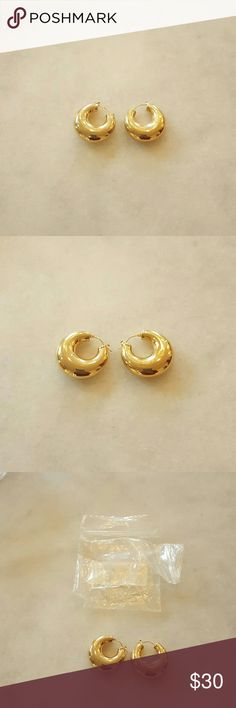 Gold Hoop Earrings Brand NEW Small Gold Hoops Gold plated  Without Tags Accessories