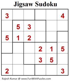 Mini Jigsaw Sudoku puzzle is solved by placing a digit from 1 to 6 in each empty cell so that each digit appears exactly once in each row, column and outlined region. Each outlined region is marked by thick borders. Elderly Activities, Dementia Activities, Physical Activities, Printable Puzzles For Kids, Sudoku Puzzles, Brain Games, Animal Quotes, Mini, Neuroscience