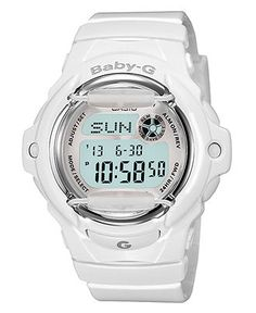 Baby-G Shock Women's watch in white. Features the date, military time, & a seconds display for taking vitals & slow IV-push drug administration. From Maceys