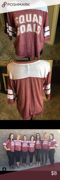 Squad goals baseball tee Super cute red/white heathered squad goals shirt. 3/4 Arm length! Only worn once for a day during homecoming week at school. Size medium but can fit small also! Tops Tees - Long Sleeve
