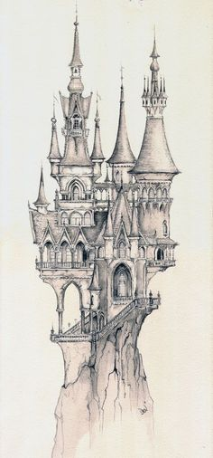 Castle impression, design for dream flight (Copyright: Efteling) Raddest Men? : Castle impression, design for dream flight (Copyright: Efteling) Raddest Men? Drawing Sketches, Cool Drawings, Drawing Ideas, Drawing Skills, Tattoo Sketches, Drawing Techniques, Sketching, Castle Drawing, Castle Sketch