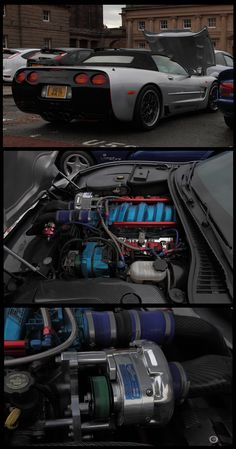 Chester. Cars and coffee. Cheshire. This Corvette had a beautifully detailed engine bay with a Supercharger jammed in there....Cool.