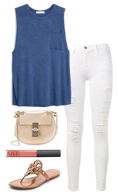 """""""So hot here"""" by helenhudson1 ❤ liked on Polyvore featuring Frame Denim, MANGO, Chloé, NARS Cosmetics and Tory Burch"""