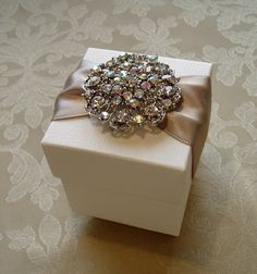 Glittering Diamante Cluster Decorated by QuillsWeddingFavours Wedding Gift Baskets, Wedding Gifts For Guests, Wedding Favor Boxes, Decorated Gift Bags, Ribbon Wrap, Diy Gift Box, Creative Gifts, Small Gifts, Wedding Stationery