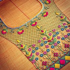 Embroidery designs by hand kurti 36 Ideas Hand Embroidery Dress, Hand Embroidery Videos, Embroidery Monogram, Embroidery Fashion, Hand Embroidery Patterns, Beaded Embroidery, Kurti Embroidery, Kids Blouse Designs, Simple Blouse Designs