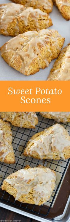 Light and fluffy sweet potato scones topped with brown sugar glaze. The most delicious sweet potato scone recipe you will ever try! Sweet Potato Scones Recipe, Sweet Potato Recipes, Sweet Bread, Sweet Potato Cookies, Sweet Potato Dessert, Sweet Potato Biscuits, Savory Scones, Breakfast Recipes, Dessert Recipes