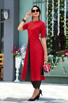 Black and red kurti Simple Kurti Designs, Salwar Designs, Kurti Neck Designs, Kurta Designs Women, Kurti Designs Party Wear, Blouse Designs, Indian Designer Outfits, Designer Dresses, Red Kurti Design