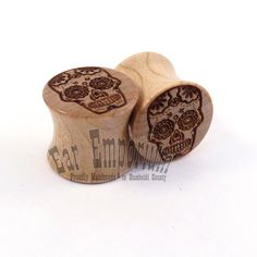 """Sugar Skull Maple Wooden Plugs - 00g (10mm) to 44mm incl 7/16"""" (11mm) 1/2"""" (13mm) 9/16"""" (14mm) 5/8"""" (16mm) 3/4"""" (19mm) 7/8"""" Wood Ear Gauges on Etsy, $30.00"""