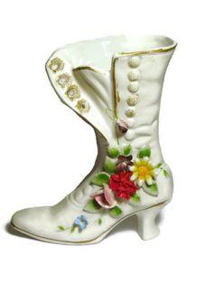 En céramique chaussure Vintage Floral en porcelaine victorien