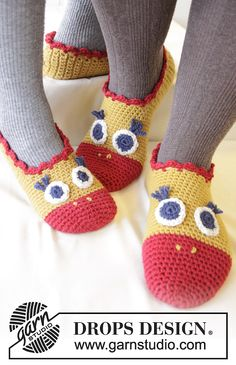 Flapping Around Slippers By DROPS Design - Free Crochet Pattern - Adult And Child Sizes - (ravelry)