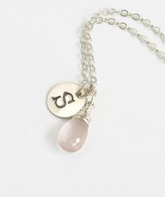 Sterling Silver Necklace with October Birthstone and Initial Charm.  Personalized birthstone jewelry by Blue Room Gems.