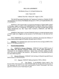 Taylor Swift Concert Contract for Capital Hoedown in Ottawa, Canada
