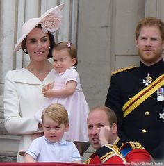 The British Royal family seen on the balcony at Buckingham Palace during Trooping The Colour in London.