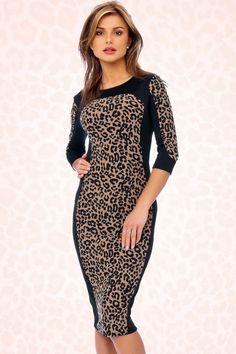 Vintage Chic - 50s Classy Leopard Dress Black