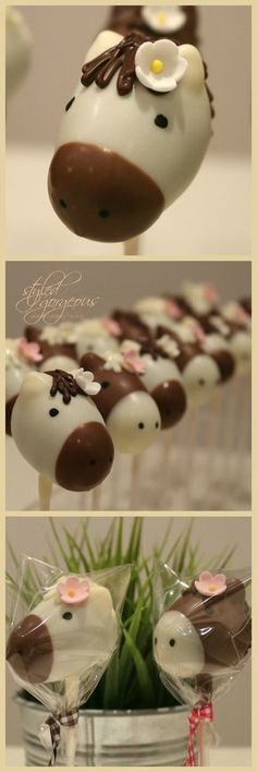 Horse lollies, homemade and decorated with chocolate - Red Velvet Cake Velvet Cake, Red Velvet, Horse Cake Pops, Cake Pop Favors, Party Favours, Paletas Chocolate, Chocolate Chocolate, New Birthday Cake, Horse Birthday