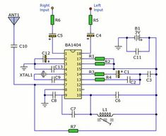 This is a small stereo FM transmitter. Output can be tuned from 88 to and the transmitter can be battery powered or be used with presented low voltage po Simple Electronic Circuits, Electronic News, Electronic Circuit Projects, Electrical Projects, Electronic Engineering, Hobby Electronics, Electronics Projects, Arduino, Radios